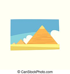 Ancient Egyptian pyramids in desert, blue sky and white clouds on background. Travel to Egypt. Colorful sandy landscape. Flat vector for postcard, advertising poster