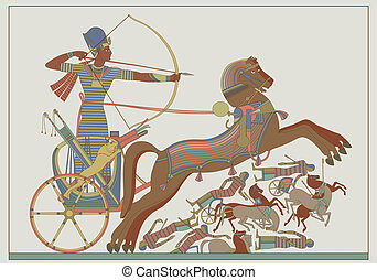 Ancient egyptian vector relief from a fresco of pharaoh Ramses in combat against Kh?tas on the banks of the Oronte River