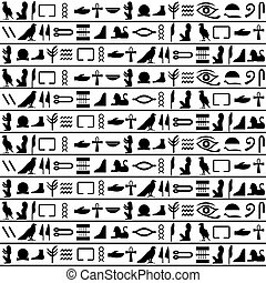 Ancient egyptian vector seamless horizontal pattern with hieroglyphs