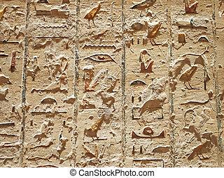 Ancient Egyptian writing, hieroglyphs, wall inscriptions