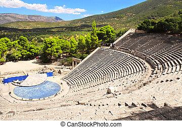 Ancient Epidaurus theater, Peloponnese, Greece - Antique ...