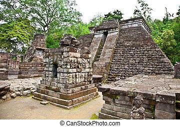 Ancient erotic Candi Sukuh-Hindu Temple on Java, Indonesia -...