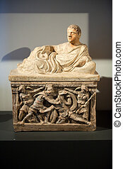 Ancient etruscan art. Painted terracotta cienrary urns. Sarcophagus of Chiusi, Tuscany.