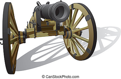 ancient field gun - Vector detailed image of typical field ...