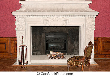 Ancient fireplace. 1600-1700 years. A museum piece castle...