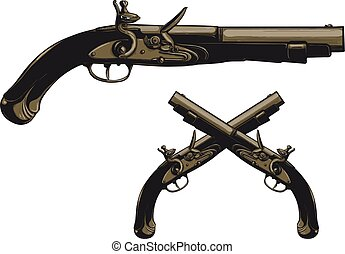 Ancient flintlock pistol