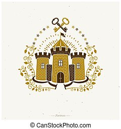 Ancient Fort emblem. Heraldic Coat of Arms decorative logo isolated vector illustration. Retro logotype in old style on white background.