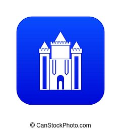 Ancient fort icon digital blue