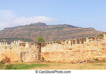 ancient fort wall at Pavagadh; Archaeological Park  World Herita