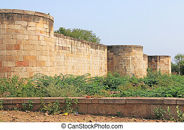 ancient fort walls at Pavagadh; Archaeological Park  World Herit