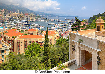 Ancient fortification and view of Monte Carlo. - Beautiful...