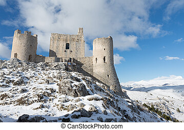 Ancient fortification in the snowy mountains of Abruzzo, Italy