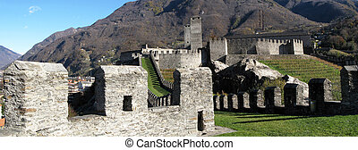 Ancient fortifications in Bellinzona, Southern Switzerland