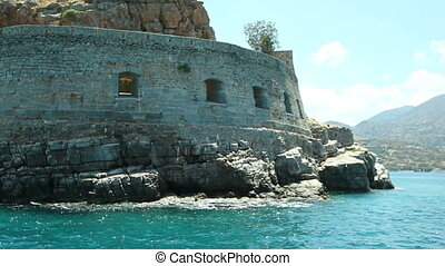ancient fortress on the island of Spinalonga. Fort...