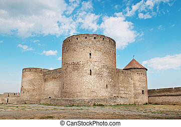 ancient fortress with towers and fortified wall