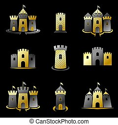 Ancient Forts emblems set. Heraldic Coat of Arms decorative...