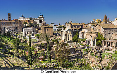 Ancient Forum Vesta Temple Regia Capitoline Hill Victor Emanuel Monument Rome Italy From 42 BC to 300 AD