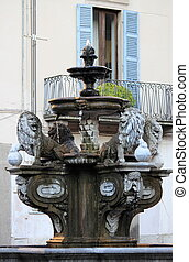 Ancient fountain in the downtown of Viterbo, Italy