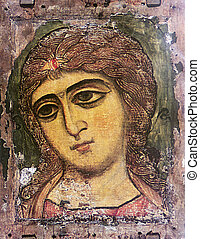 Ancient fresco icon of the old wall of the church- Guardian Angel