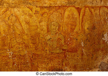 Ancient frescos in Tilanka Image House. Pollonaruwa, Sri Lanka