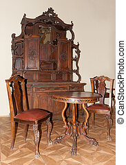 Ancient furniture. 1600-1700 years. A museum piece castle...