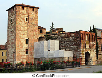 ancient gate and walls of the medieval town of Vicenza in Italy