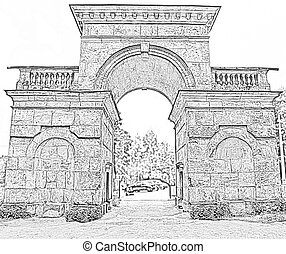 ancient gate in an arch