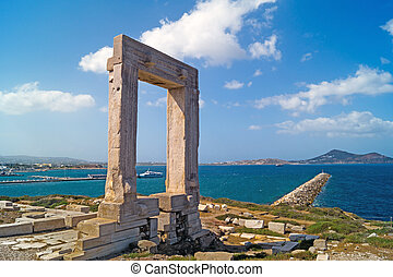Ancient gate of Apollon temple at the island of Naxos in...