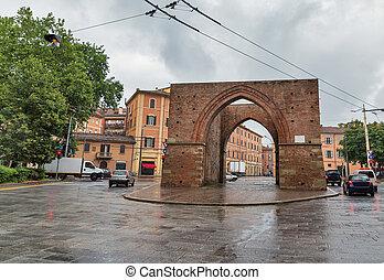 Ancient gate Porta Maggiore in Bologna, Italy.