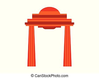 Ancient gate with columns in flat style on a white background. Gateway architecture. Vector illustration