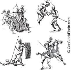 Ancient Gladiator Sketches - Ancient Roman Gladiators. Set...