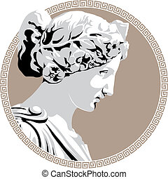Ancient goddess - Ancient Greek goddess. Vector illustration