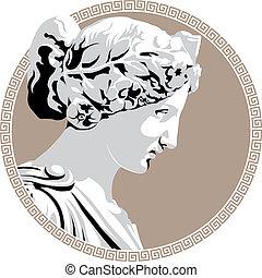 Ancient goddess - Ancient Greek goddess. Vector illustration