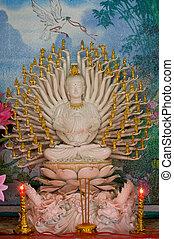 Ancient golden sculpture of a buddh