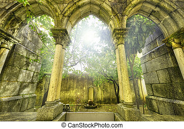 Ancient gothic arches in the myst. Fantasy landscape in...