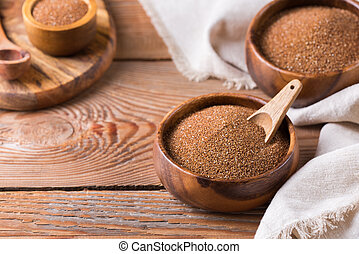 Teff - ancient fine grain popular in Eritrean and Ethiopian cuisine to make fermented bread injera and gluten-free alternative for healthy eating and dieting, source or fiber and calcium