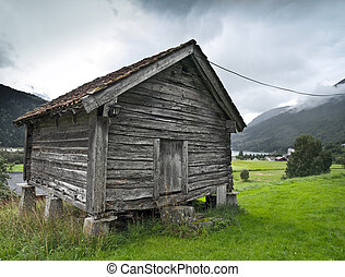 Ancient granary in the fjord of Loen