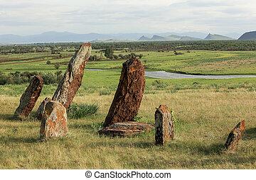 Ancient gravestones in Khakassia. Republic of Khakassia, ...