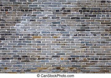 Ancient gray brick wall