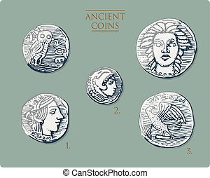 ancient Greece, antique symbols silver coins tetra drachma, medals with hercules, heracles and athena with owl, demetra and eagle vintage, engraved hand drawn in sketch or wood cut style, old looking