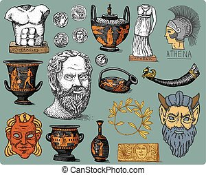 ancient Greece, antique symbols Socrates head, laurel...