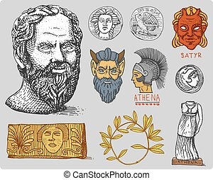 ancient Greece, antique symbols Socrates head, laurel wreath, athena statue and satyr face with coins vintage, engraved hand drawn in sketch or wood cut style, old looking retro