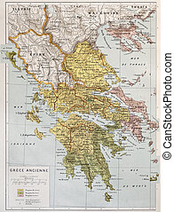 Ancient Greece - Old map of Ancient Greece. By Paul Vidal de...