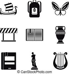 Ancient greece icons set, simple style - Ancient greece...