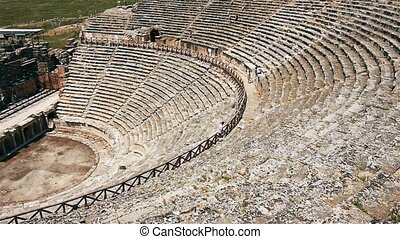 Ancient greek amphitheatre in ruins of Hierapolis city near Pamukkale, Turkey