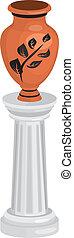 Ancient Greek amphora on column