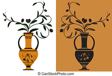 Ancient Greek amphora with olive branches stencil and color...