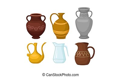 Ancient Greek Amphoric Vases Vector Isolated On White Background Set