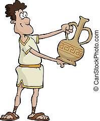 Ancient greek - Ancient Greek vase holds in his hands vector