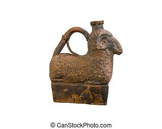ancient Greek clay jug in shape of sheep